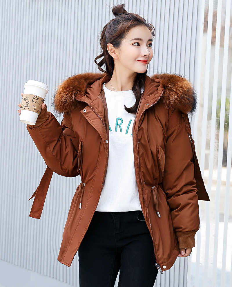 Korean Style 2019 Winter Jacket Women Cotton Padded Hooded With Fur Fe_A8_9