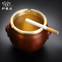 Large pure copper ashtray ashtray home sitting room office personality new Chinese style luxury furnishing articles