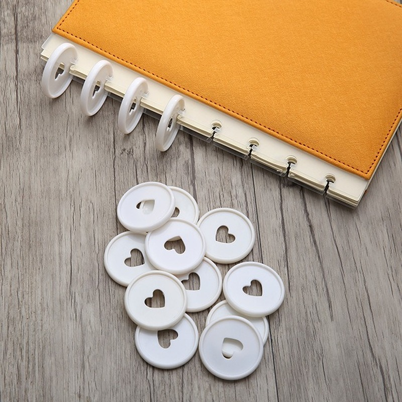 30PCS White Heart Binding Discs Plastic Round Button Loose-leaf Binder Notebook Disc Mushroom Hole Binder Buckle Office Supplies