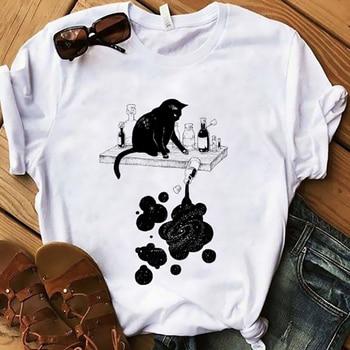 Black Cat and Ink t-shirt Women funny women graphic T Shirt Short Sleeve Tops Tees Femme aesthetic Fashion tshirt woman Tshirt 1