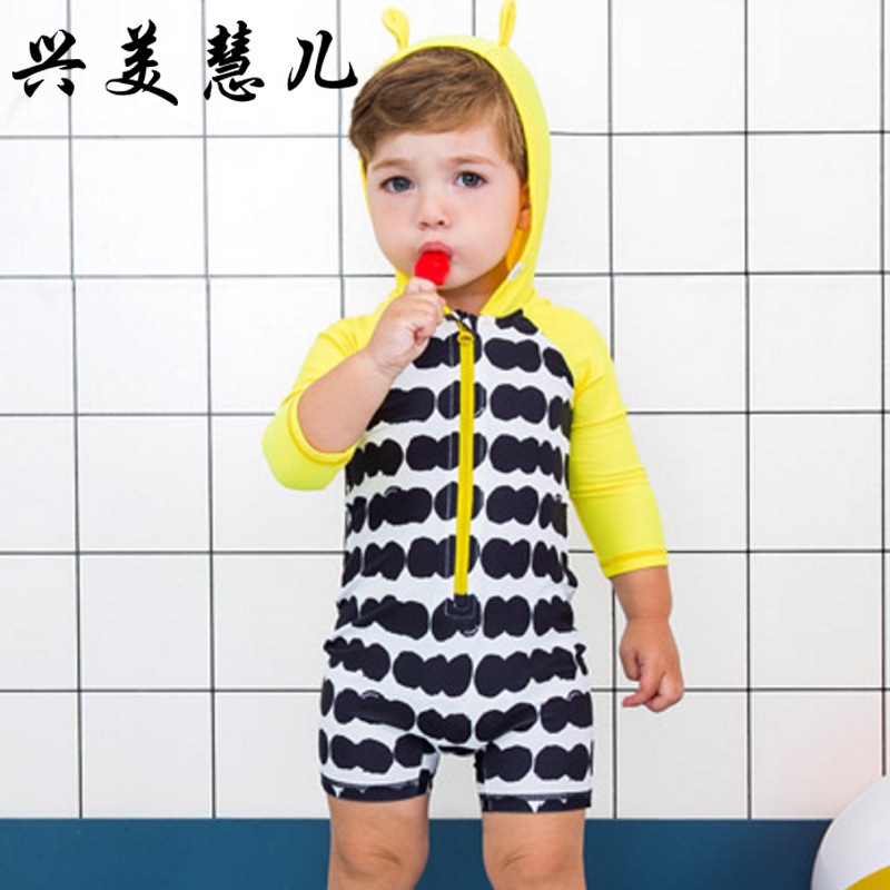 2018 New Style Hot Sales One-piece Swimming Suit Hooded Long Sleeve Shorts Sun-resistant Hot Springs Zipper Cartoon BOY'S KID'S