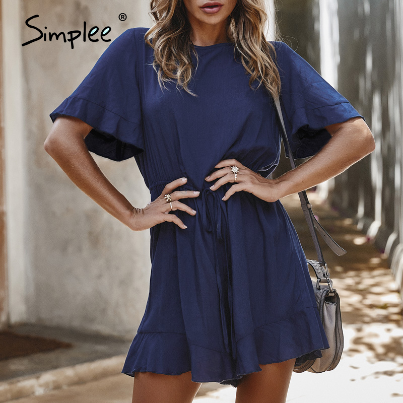 Simplee Elegant Lace Up Flare Sleeve Women Playsuit Ruffles High Waist Hollow Out Female Rompers Jumpsuit Spring Summer Overalls