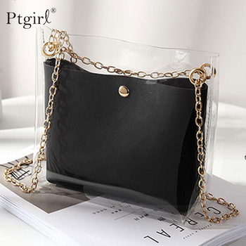 Women Transparent Bucket Bag Clear PVC Jelly Small Shoulder Bag Ptgirl Chain Crossbody Messenger Bags 2019 Design Luxury Handbag transparent bucket bag and pouch bag