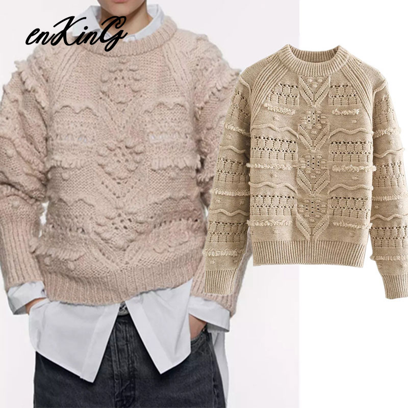 2019 England Style Vintage Ball Embrodiery Oversize Hollow Outwinter Za Sweaters Women Pull Femme Sweaters Women Pullovers Tops