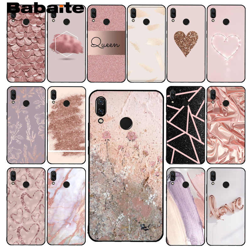 Babaite Gold Rose Glitter Pink Love Herat Phone Case for Xiaomi Redmi4X 6A S2 Go Redmi 5 5Plus Note4 Note5 7 Note6Pro