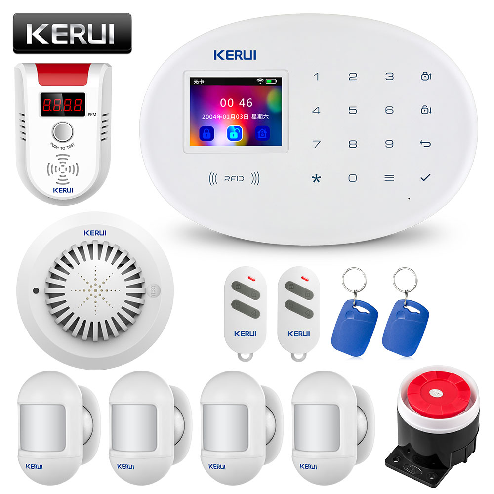 KERUI W20 Smart Home WIFI GSM Security Alarm System, Equipped With Somke Detector Gas Detector Red And Black Siren