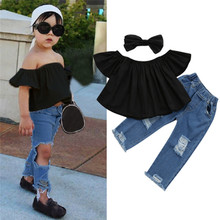 Get more info on the 2019 Fashion Toddler Kid Clothing Baby Girl Off shoulder Crop Tops + Hole Denim Pant Jean Headband Set