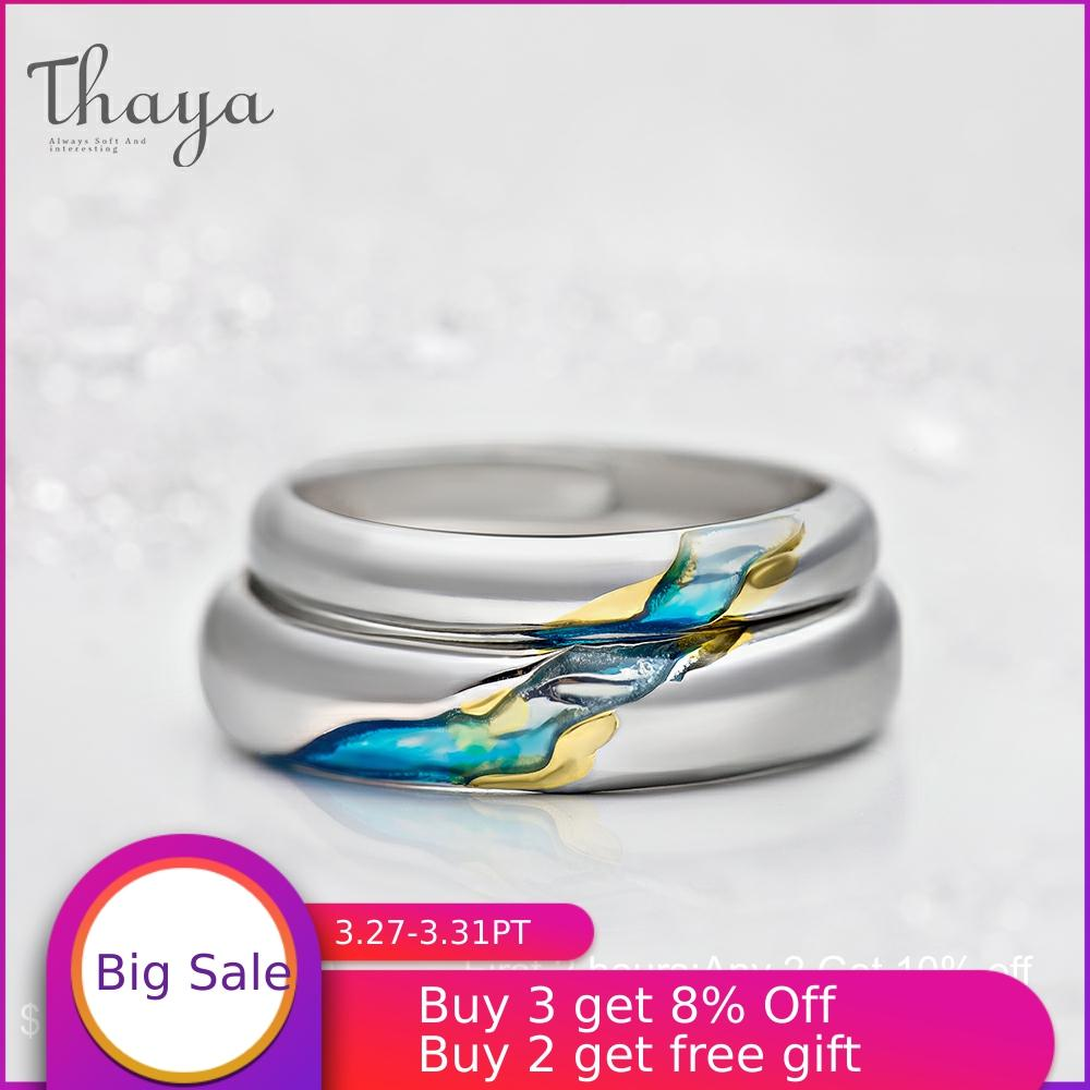 Thaya S925 Silver Couple Rings TheOtherShoreStarry Design Rings  For Women Men Resizable Symbol Love Wedding  Jewelry Gifts