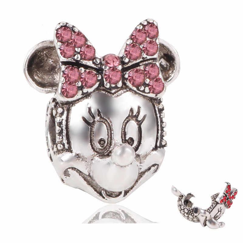 Srebro 925 wisiorek z koralikami lśniąca elegancja klipy Pave CZ Charms Fit oryginalne bransoletki Pandora kobiety Mickey Minnie Diy biżuteria
