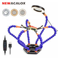 NEWACALOX Soldering Third Hand PCB Helping Hands Welding Rework Station 3X USB LED Magnifier Table Lamp Soldering Iron Stand