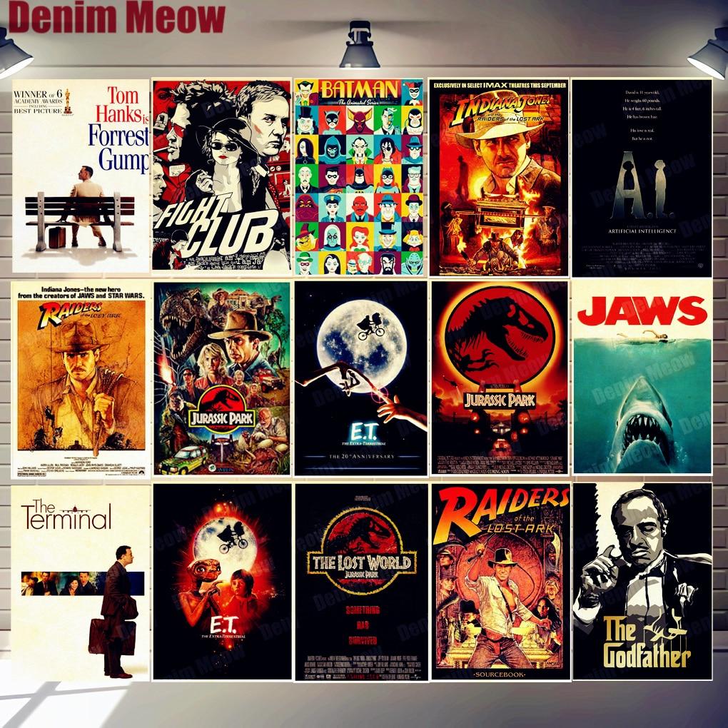 Cartazes de cinema Filme Placa Do Vintage Metal Tin Signs Cafe Bar Decoração Cinema E.T. MANDÍBULAS N311 Jurassic Park Retro Pintura De Parede Autocolante