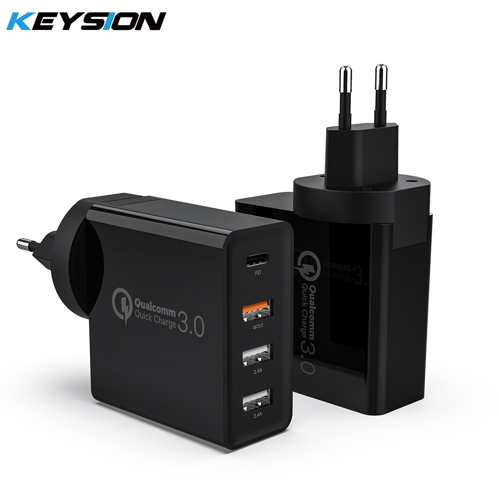 KEYSION 48W 4 Ports Quick Charger PD Type C USB Charger for iPhone 12 Samsung Tablet QC 3.0 Fast Wall Charger EU UK Plug Adapter