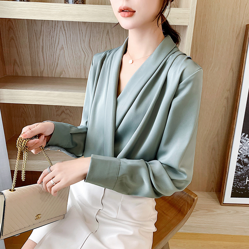 COIGARSAM Korea Style Full Sleeve Shirt Womens Tops New Spring Office Lady Chiffon V-Neck Women Shirts Pink Red Yellow 501
