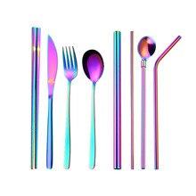 8Pcs 9Pcs 304 Stainless Steel Portable Cutlery  Knife Fork Spoon Set Household Juice Milk Tea Straw Vajillas Completas De Por