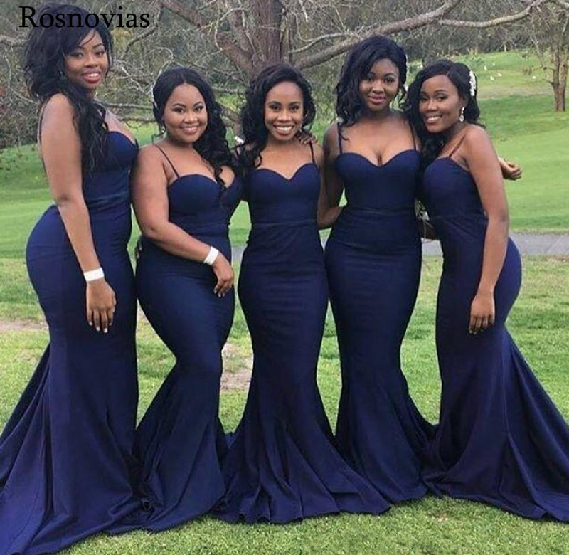 Arabic Mermaid   Bridesmaid     Dresses   2019 Spaghetti Strap Open Back Long Black Girl Wedding Guest Maid Of Honor Gowns Plus Size