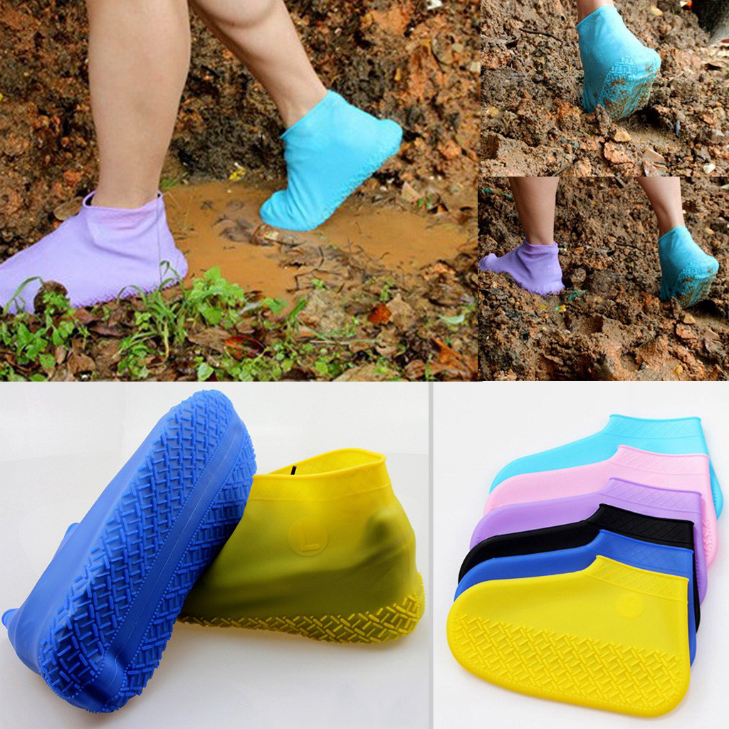Kids Adult Reusable Waterproof Rain Shoes Women Man Boys Girls Covers Foldable Slipped Shoes Unsex Solid Silicone Shoe Cover
