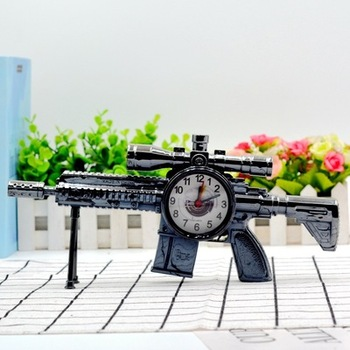 Tommy Gun kwarcowy budzik biurkowy zegarek czas Submachine biurko pokój dzieci prezent Xmas zegary stołowe tanie i dobre opinie CN (pochodzenie) Z tworzywa sztucznego Antique style Skoki ruch Funkcja drzemki 295mm Igła Kreatywny GEOMETRIC Zegary biurkowe