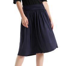 Womens Casual Cotton Stretch Empire Waist Knee Length Pleated Flowy A-Line Solid Color Flare Skirt With Pockets Loose Streetwear elastic waist crinkle flowy skirt