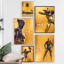 Marvel Movie The First Ten Years Black Panther Iron Man All Superheroes Art Painting Silk Canvas Poster Wall Home Decor