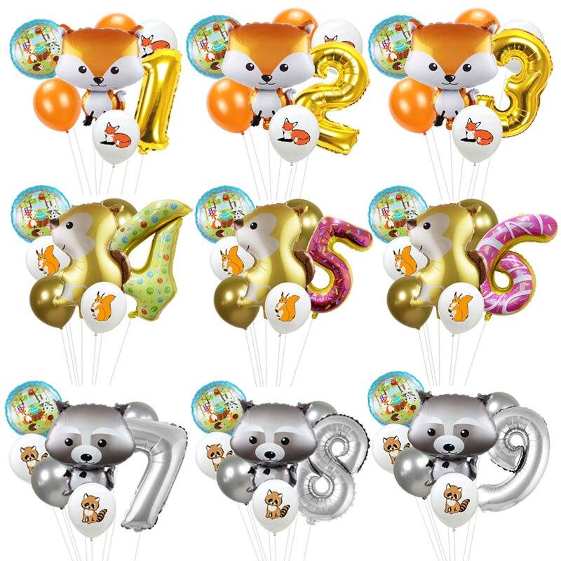 7 шт./компл. воздушные шарики в виде животных из фольги с лисой, белкой, енотом, латексный воздушный шар с номером для детей, украшения для дня ...