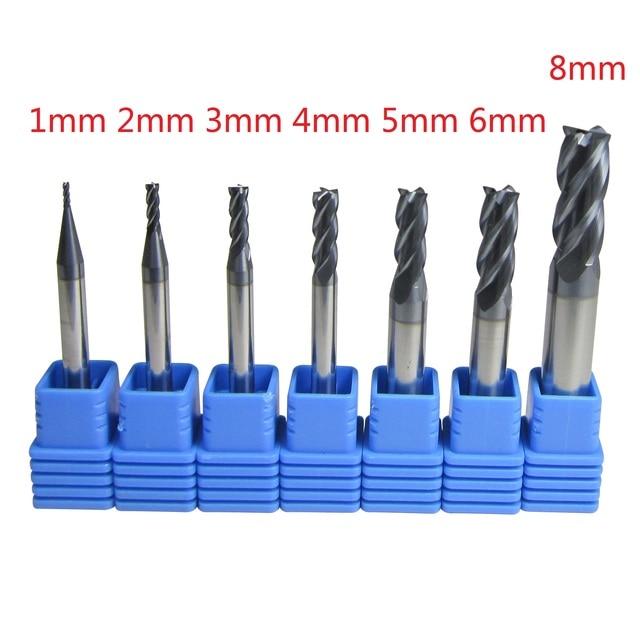 7 개/몫 1mm   6mm 8mm 4 개의 4 플루트 초경 플랫 엔드 밀 세트 CNC 기계 밀링 커터 비트 금속 가공용 드릴 커팅