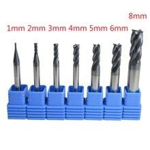 7 adet/grup 1mm   6mm 8mm dört 4 flüt karbür düz frezeler seti CNC makinesi freze kesici uçları matkap kesme metal işleme için