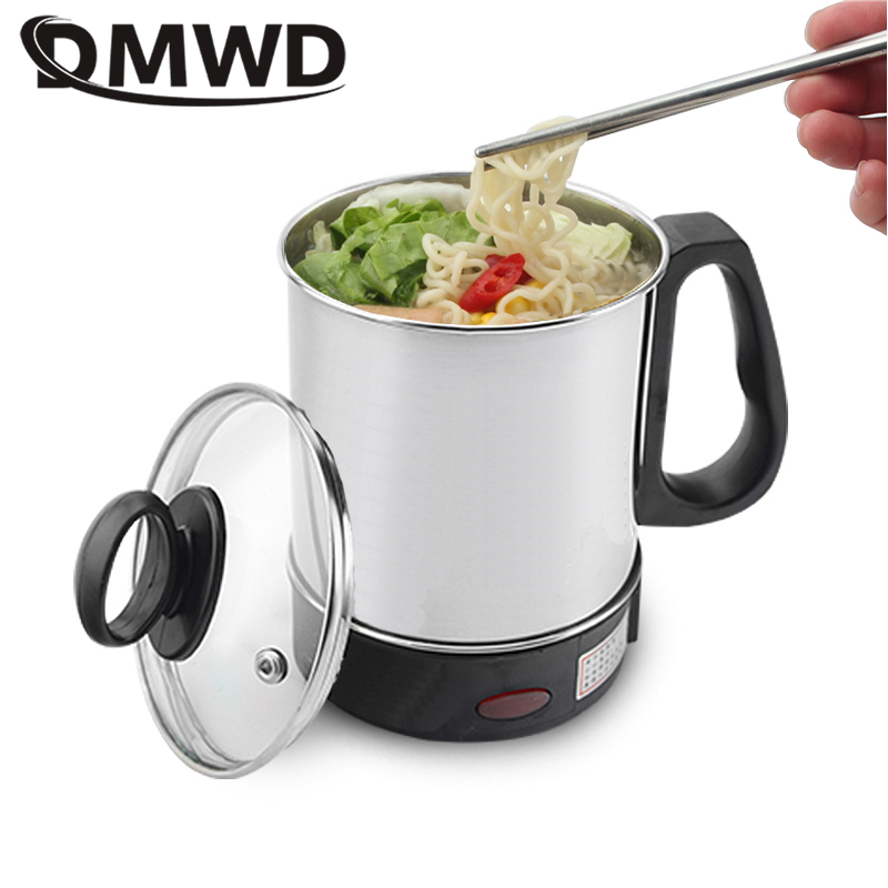 DMWD MultiCooker Electric Skillet Portable Stainless Steel Heating Cup Noodles Milk Soup Porridge Cooking Pot Mini Coffee Boiler