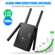 5 Ghz WiFi Repeater Wireless Wifi Extender 1200Mbps Wi-Fi Amplifier Long Range Wi fi Signal Booster 2.4G - 5.8G Wifi Repiter