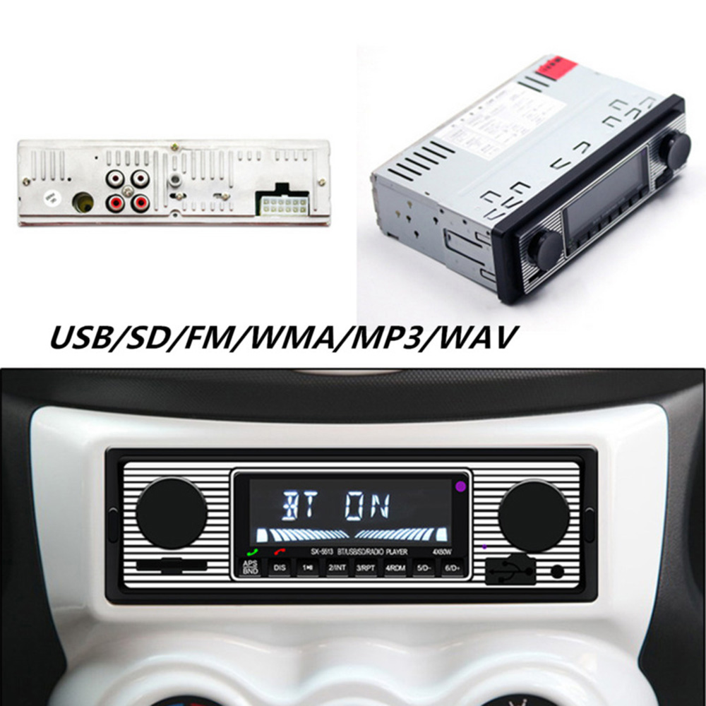 Auto Car Stereo FM Retro Radio LCD Screen 12V MP3 Player Bluetooth USB AUX WAV Frequency Modulation Function