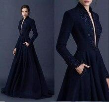 Темно-синий Сатин вечерние платья 2108 глубокий V шеи вышивка на заказ бисером вечерние платья матери вечерние наряды с глубоким халат де суаре