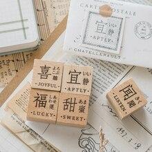 Symbol Rubber-Stamps Scrapbooking Journaling Wooden Vintage Bullet Yoofun Deco Text Diy-Craft