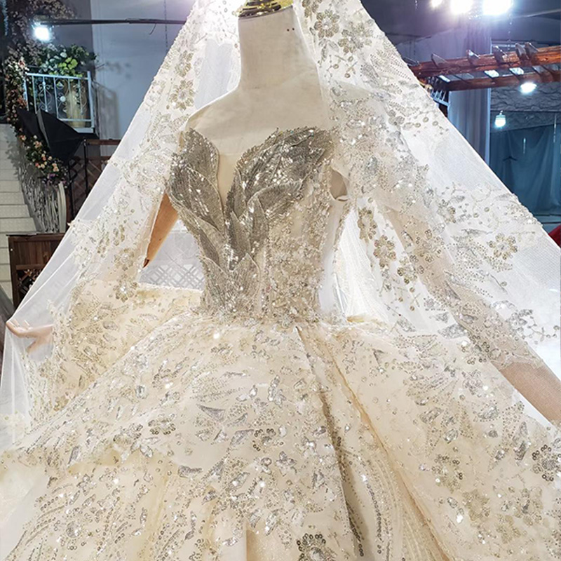 HTL1825 Luxurious Sequined Beading Crystal Lace Up Back Wedding Dress 2020 V-Neck Off The Shoulder Short Sleeve Ball Gowns 5
