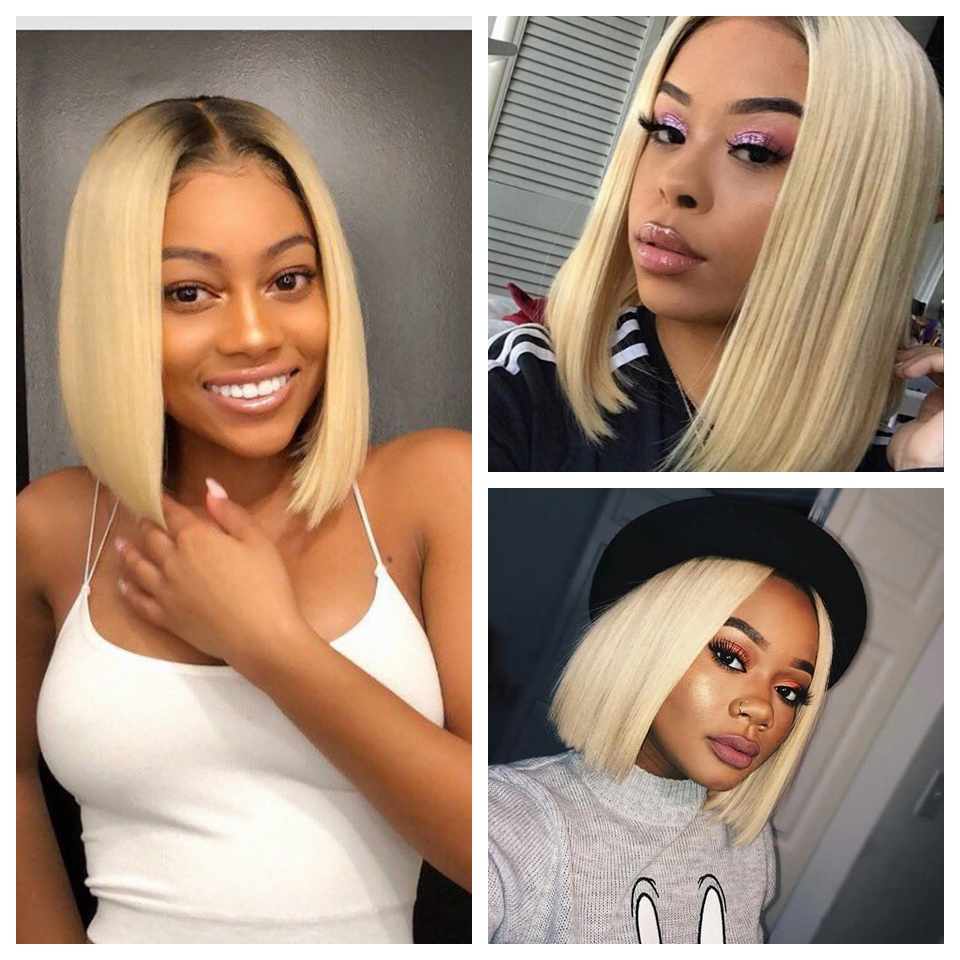 Short Human Hair Wigs For Black Women Ali Grace Peruvian Remy Hair Lace Front Wigs With Short Human Hair Wigs For Black Women Ali Grace Peruvian Remy Hair Lace Front Wigs With Pre Plucked Hairline Blunt Cut Bob Wigs