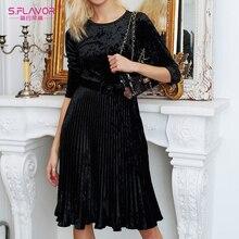 S. FLAVOR 2020 wiosna kobiety aksamitna sukienka elegancka O neck sukienka plisowana midi kobiety Solid Color line Vestidos De