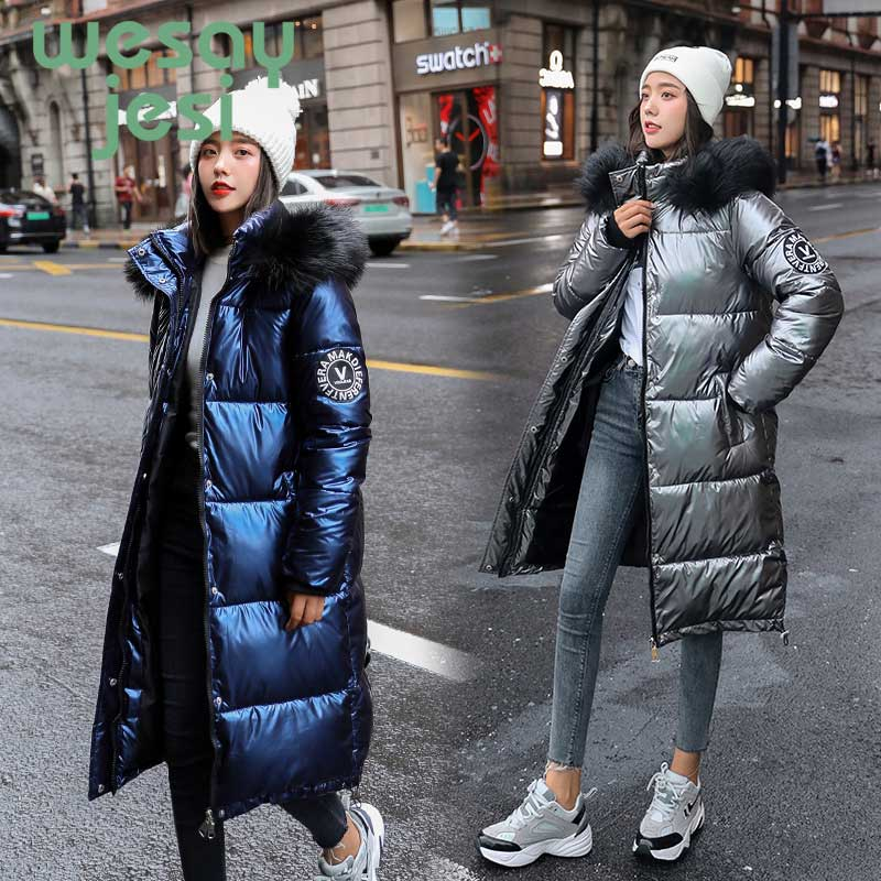 Winter Thick Shiny Woman Winter Jacket Silver Long over-the-knee versatile Cotton coat warm loose fashion Glossy jacket   Parkas
