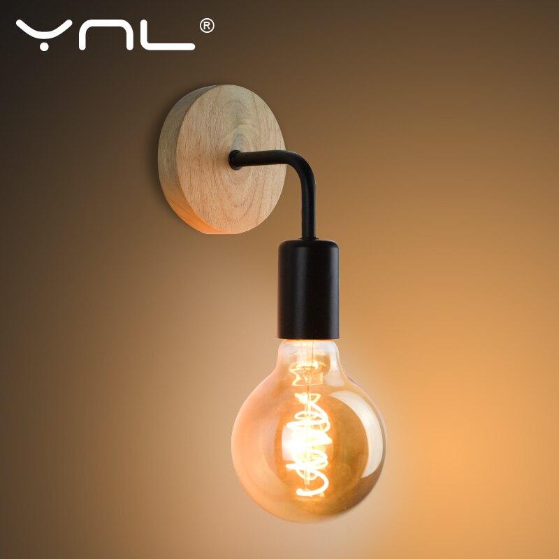 Ściana z drewna lampa Vintage kinkiety lampy przytwierdzone do ściany oprawa E27 110V 220V nocna styl industrialny retro jadalnia oświetlenie do sypialni