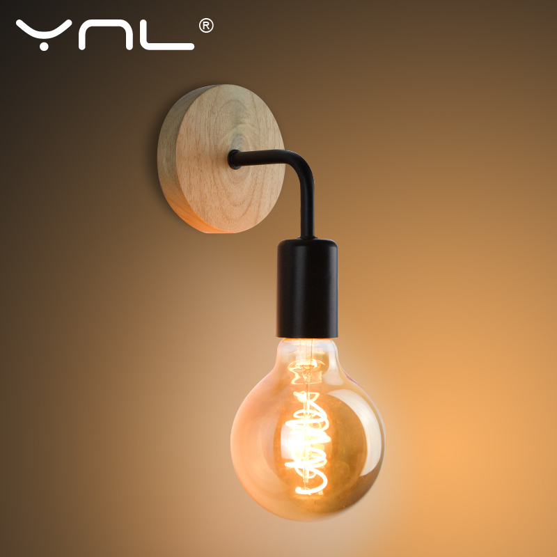 Ahşap duvar lambası Vintage aplik duvar lambaları fikstür E27 110V 220V başucu Retro endüstriyel yemek odası yatak odası ışık