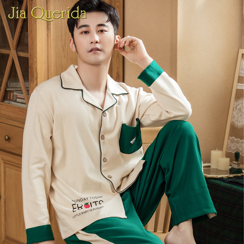 Fashion Men Pajamas Set For Men Long Cotton Lapel Button Cardigan Print Design 2pcs Elegant Homewear Male Pajamas Suit Nightwear