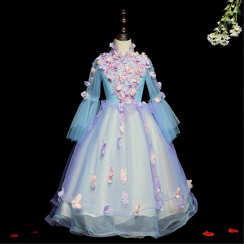 Flower Girl Dresses For Weddings It's Yiiya  B031 Long Sleeve Flowers Ball Gown High Neck Appliquse Beading Princess Dresses