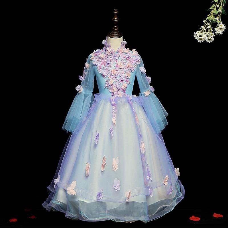 Flower Girl Dresses For Weddings It's Yiiya  B031 Long Sleeve Flowers Ball Gown High Neck Appliquse Beading Princess Dresses