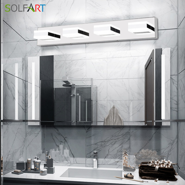 Modern Black Bathroom Vanity Lights Over Mirror 4 Lights Acrylic Bath Wall Lighting 6