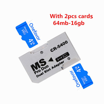 Promotion!!! Dual 2 Slot MS Card Pro Duo Adapter Micro TF 64MB - 16GB TF Memory Card To Memory Stick Card For PSP