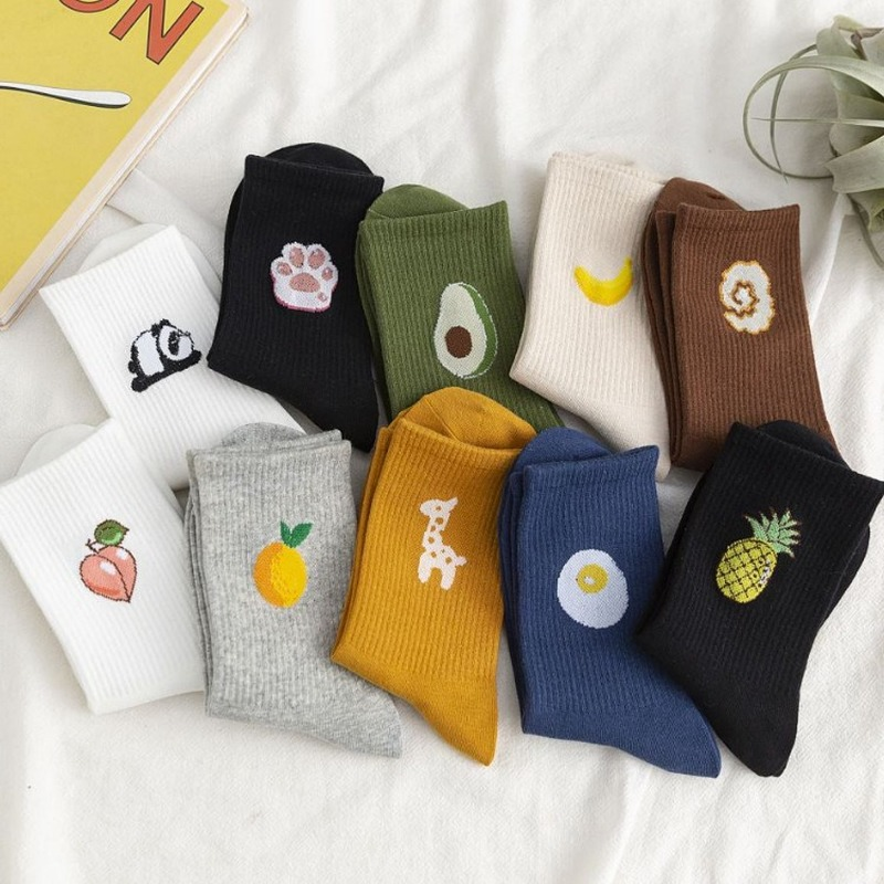 Korean INS Wind Hyuna Fruit Socks Women Japanese Harajuku Style Kawaii Funny Socks Cotton Calcetines Mujer Meias 121108