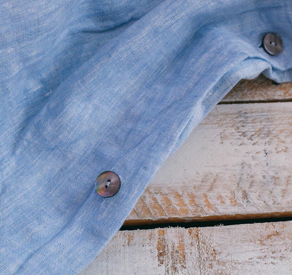 100% linho céu azul água esfregando fio tingido luxuoso customizável tamanho 4 pçs conjuntos de cama hotel americano - 4