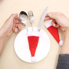 Czapki bożonarodzeniowe dzieci boże narodzenie opakowanie na prezent zestaw do sztućców ozdoby do wystroju domu urocza dekoracja narzędzie do przechowywania sep9 tanie tanio CN (pochodzenie) Tak ( 50 sztuk) jako zastawa stołowa Tkanina nietekstylna Christmas Hat Tableware