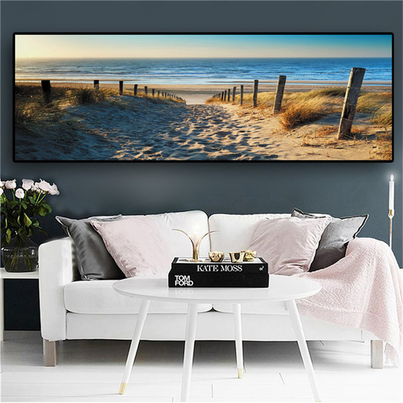 SEAAN Canvas Paintings Wall Art Landscape Paintings Modern Beach Abstract Picture for Home Living Room Decor No Frame image