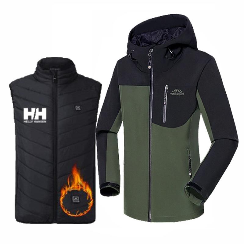 Men Winter Flexible Electric Thermal Waistcoat Fish Hiking Euro Suit Outdoor USB Infrared Heating Vest Fleece Camp Ski Jacket
