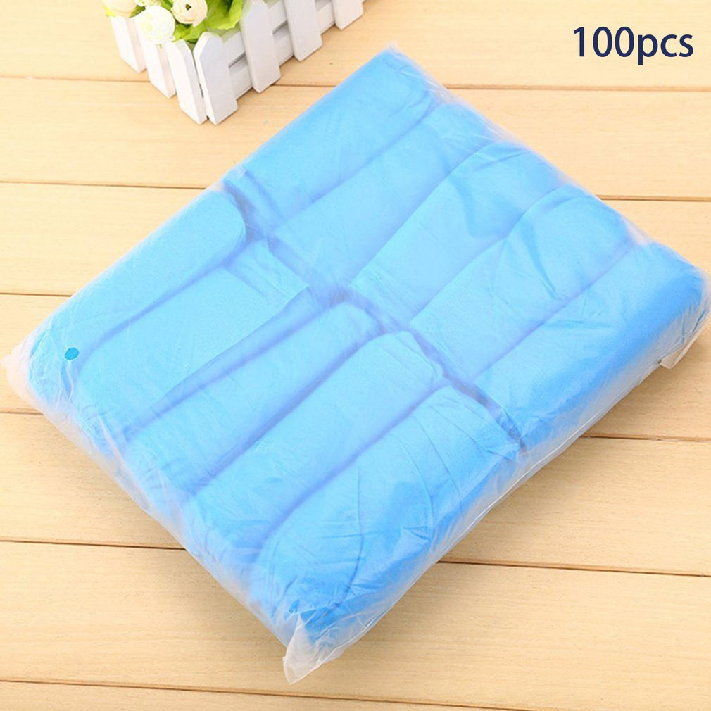 100PCS Disposable Non-woven Fabrics Shoe Covers Thickened Anti Slip Clean Overshoes Dustproof Shoe-covering Footies