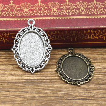 10pcs New Fashion 18x13mm Inner Size Antique Bronze Silver Color Classic Oval Flower Style Cabochon Base Setting Charms Pendant