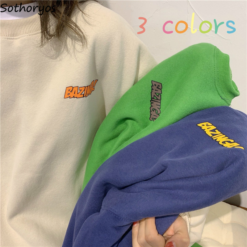 Women Hoodies Loose Harajuku Winter Autumn Plus Velvet Thickening Korean Style Ins Letter Printed Chic BF Ulzzang Oversize Retro